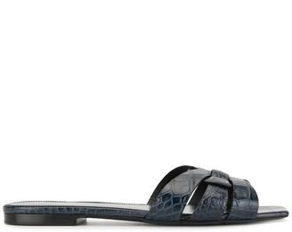 Saint Laurent Tribute crocodile-effect sandals