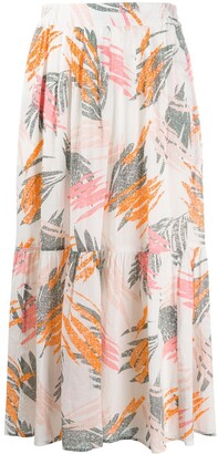 Closed Abstract Print Gathered Skirt