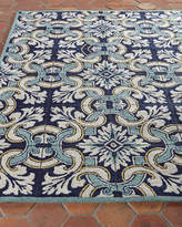 "Horchow Paige Floral Tile Indoor/Outdoor Rug, 3'5"" x 5'5"""