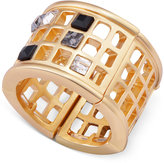 T Tahari Gold-Tone Scattered Crystal Grid Ring