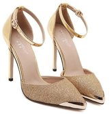 KAZME Women's Glitter High Heel With Ankle Strap Pumps Shoes / US 7