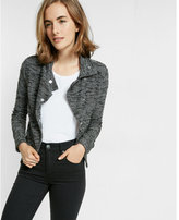 Express black and white textured drop collar jacket