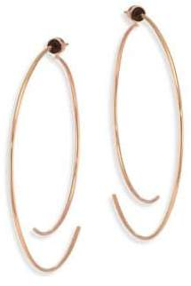 """Diane Kordas Armour 18K Rose Gold Curved Open Hoop Earrings/2.5"""""""