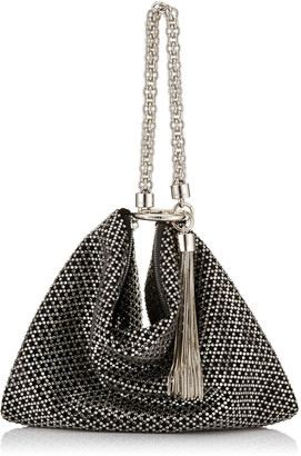 Jimmy Choo CALLIE Black Diamond Motif Crystal Hotfix on Suede Clutch Bag