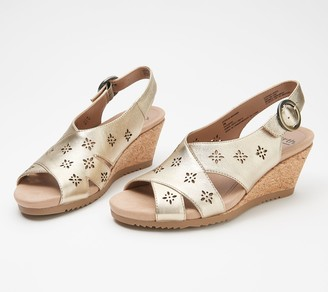Earth Leather Cut-Out Wedges - Attalea Bahama