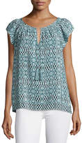 Joie Cotati Split-Neck Printed Top