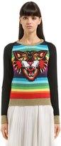 Gucci Cat Patch Multicolor Striped Sweater