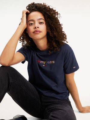 Tommy Hilfiger Multicolour Logo Cropped T-Shirt