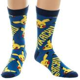 Pokemon Official Pikachu and Yellow All Over Print Crew Socks - One