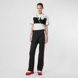 Burberry Logo Applique Striped Cotton Oversized Polo Shirt
