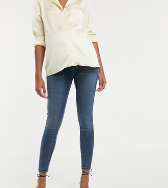 ASOS DESIGN Maternity high rise ridley 'skinny' jeans in extreme dark stonewash blue with under the bump waistband