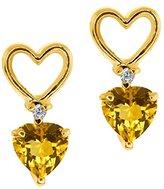 Gem Stone King 0.45 Ct Heart Shape Yellow Citrine and Diamond 18k Yellow Gold Earrings