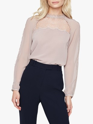 Damsel in a Dress Sania Lace Detail Blouse, Champagne