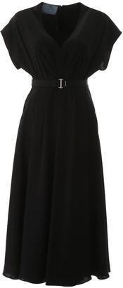 Prada V-Neck Draped Belted Dress