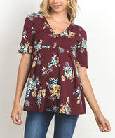 Wine Floral Maternity Empire-Waist Top