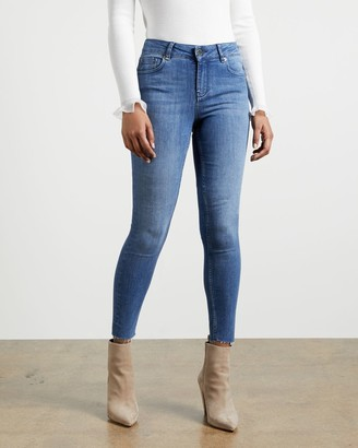 Ted Baker Mid Wash Raw Hem Skinny Jeans