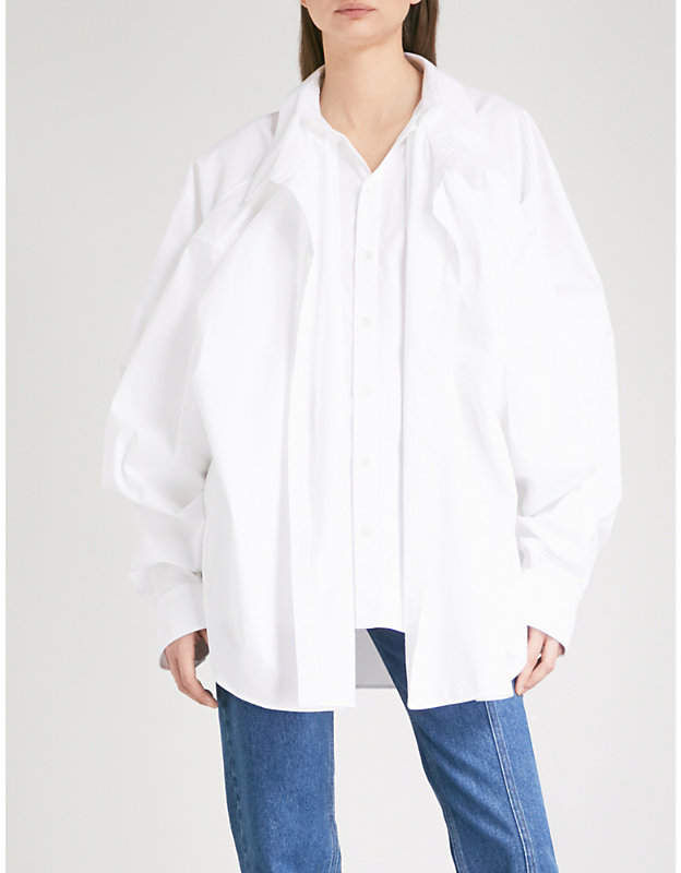 Y/Project Front-panel cotton-poplin shirt