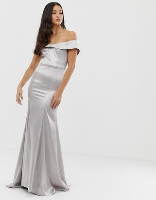 Dolly & Delicious bardot maxi dress with fishtail in silver satin