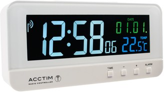 Acctim Radio Controlled LCD Digital Alarm Clock, White