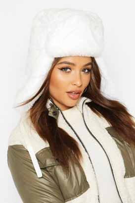 boohoo Faux Fur Trapper Hat