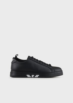 Emporio Armani Leather Sneakers With Knit Inserts