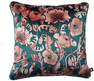 The Curious Department Opium Blush Teal Velvet Cushion