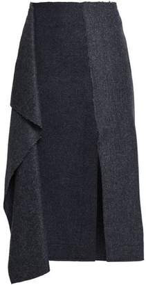 Cédric Charlier Draped Herringbone Wool And Cashmere-blend Skirt