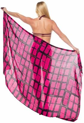 LA LEELA Hand Tie Dye Bikini Beach Swimwear Swimsuit Cover up Wrap Skirt Sarong Women Blood Red