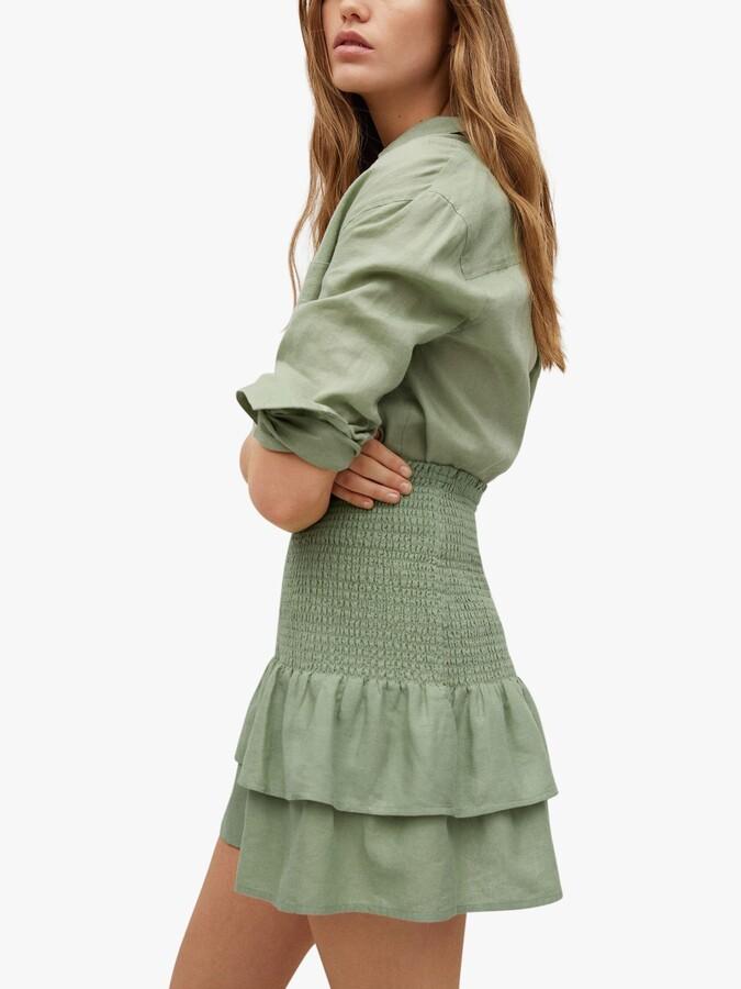 Thumbnail for your product : MANGO Ruffled Linen Mini Skirt