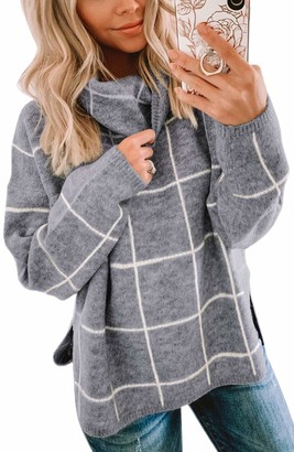 Spec4Y Women's Sweater Plaid Turtleneck Long Sleeve Casual Chunky Checked Knitted Winter Pullover Sweaters Tops Gray Small