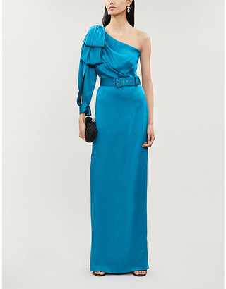Peter Pilotto One-shoulder draped satin maxi dress