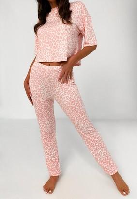 Missguided Pink Leopard Print T Shirt And Leggings Pyjama Set