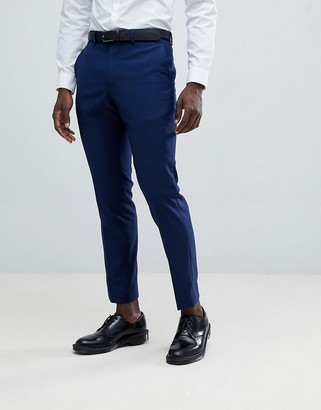 French Connection Slim Fit Wedding Suit Trousers-Blue