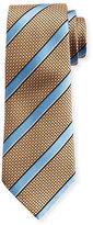 Ermenegildo Zegna Satin-Stripe Basketweave Silk Tie, Orange