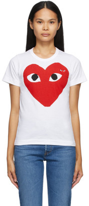 Comme des Garcons White Large Double Heart T-Shirt