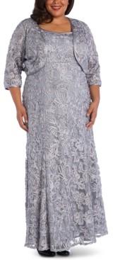 R & M Richards Plus Size Soutache Gown & Jacket