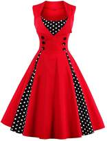 MorySong Retro 1950s Polka Dot Patchwork Swing Short Cocktail Party Dresses M