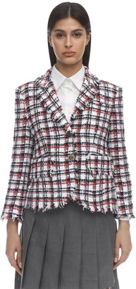 Thom Browne Check Raw Cut Tweed Jacket