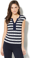 New York & Co. 7th Avenue - Chain-Link Trim Lace-Overlay Top - Grand Sapphire