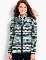 Talbots Fair Isle Print Fleece Jacket