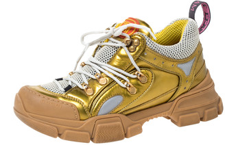 Gucci Multicolor Leather And Mesh Flashtrek Reflective Low Top Sneakers Size 38.5