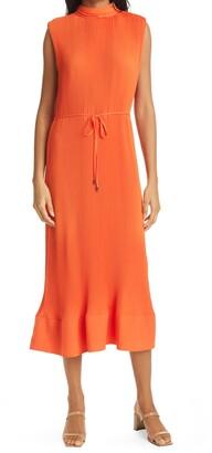 Milly Melina Pleated Sleeveless Georgette Dress