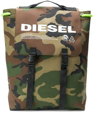 Diesel camouflage-print drawstring backpack