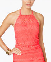 Island Escape Sky High-Neck Crochet Tankini Top