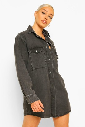 boohoo Oversized Denim Shirt Dress