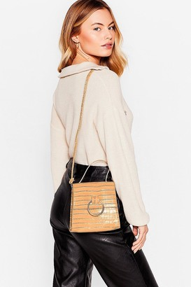 Nasty Gal Womens WANT Oh Croc Off Faux Leather Crossbody Bag - Beige - One Size