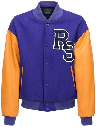 Raf Simons Rs Patch Wool College Bomber Jacket