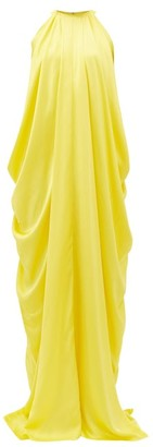 Halpern Halterneck Draped Satin Dress - Yellow