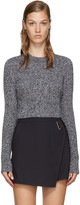 Carven Black & White Cropped Sweater