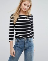 Vila Slashed Neck 3/4 Sleeve Striped Tee